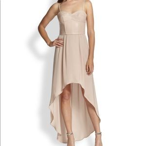 BCBG nude pink bustier high low dress